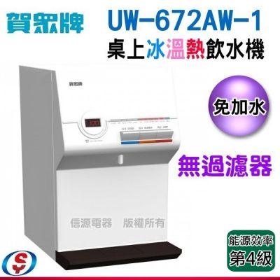 【歲末促銷價】(送安裝)賀眾牌桌上型冰溫熱飲水機(UW-672AW-1) --需外接過濾器